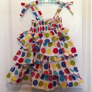 Jelly the Pug Rainbow Dot Ruffle Dress